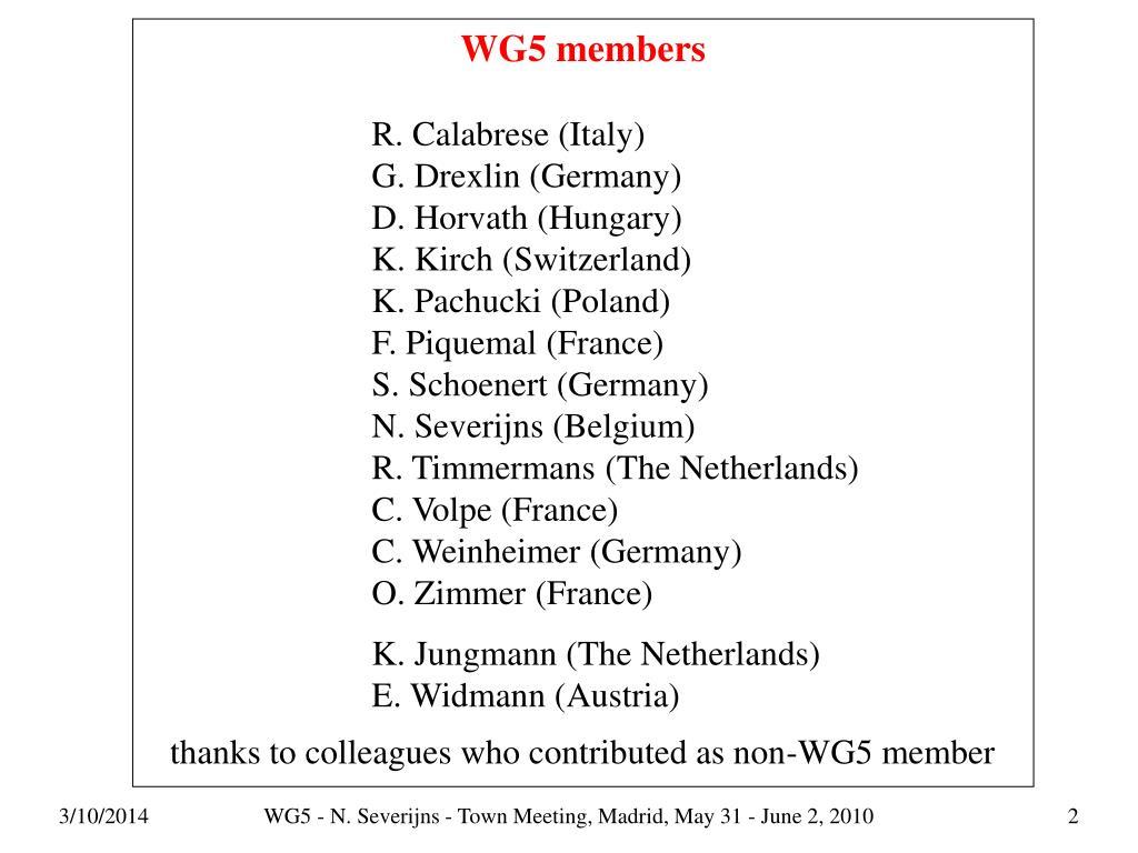 WG5 members