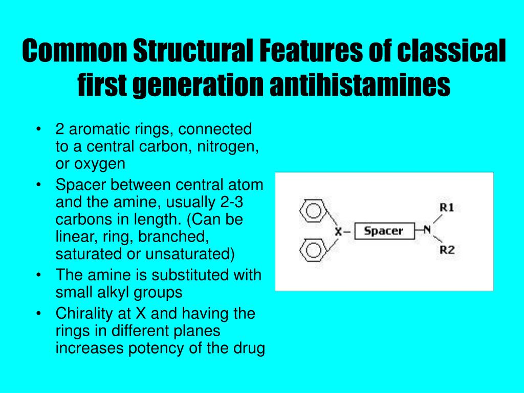 Common Structural Features of classical first generation antihistamines