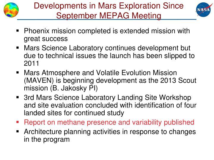 Developments in mars exploration since september mepag meeting