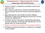 developments in mars exploration since september mepag meeting
