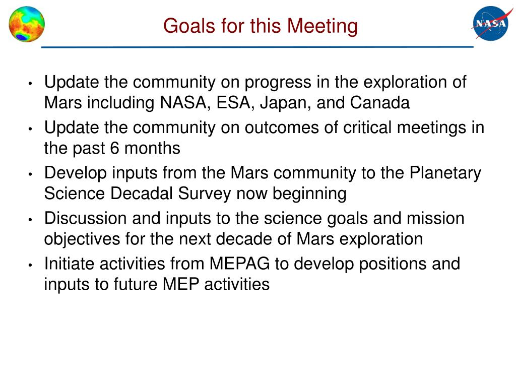 Goals for this Meeting