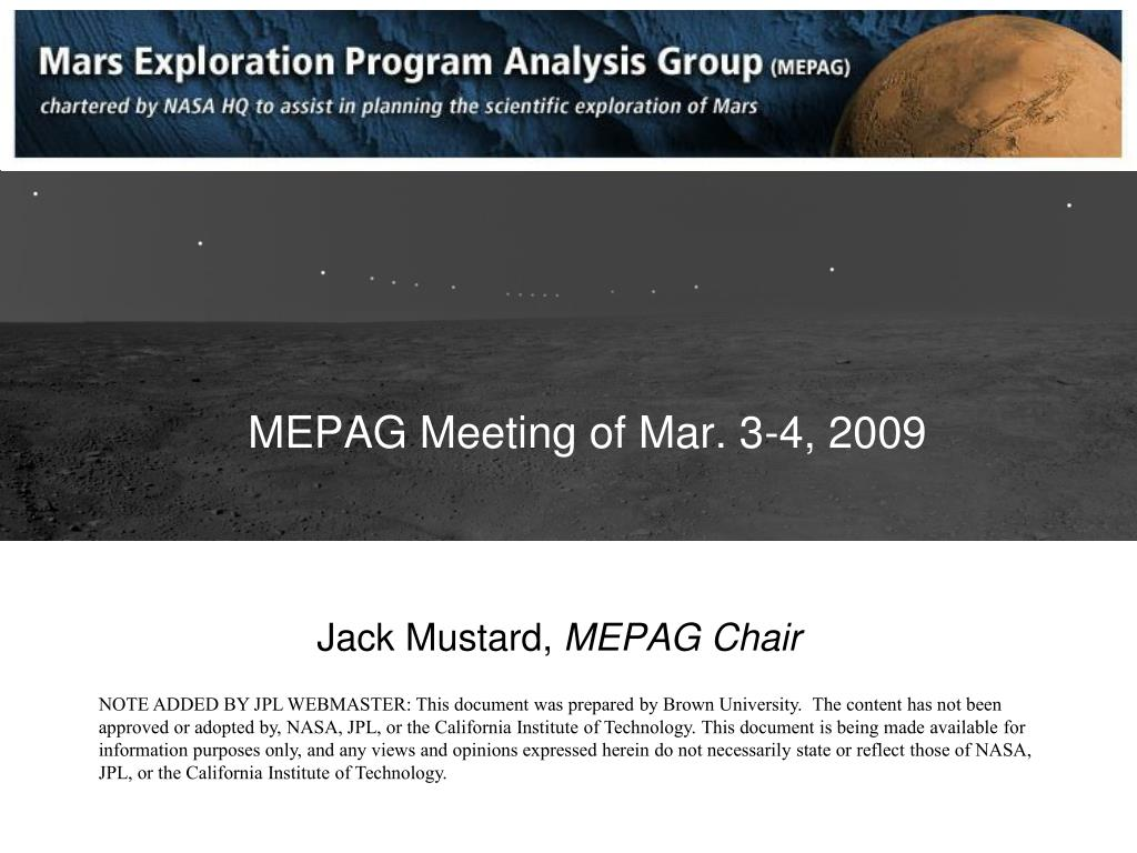 mepag meeting of mar 3 4 2009 l.