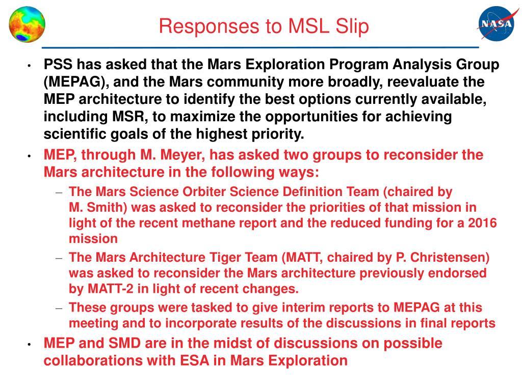 Responses to MSL Slip
