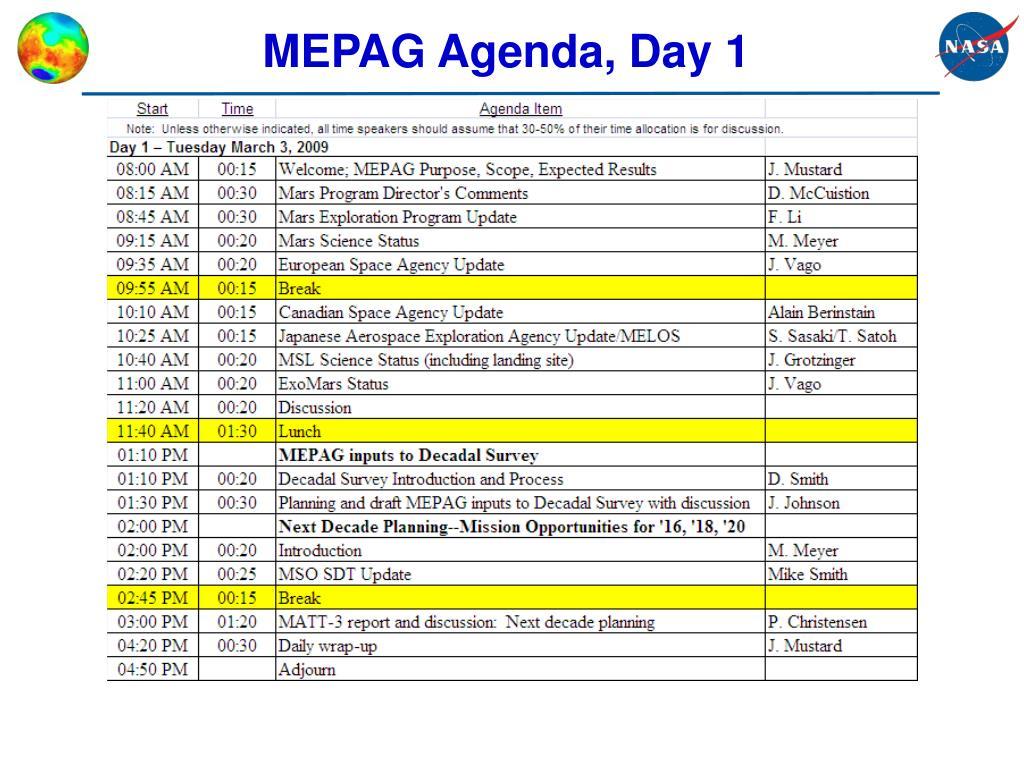 MEPAG Agenda, Day 1