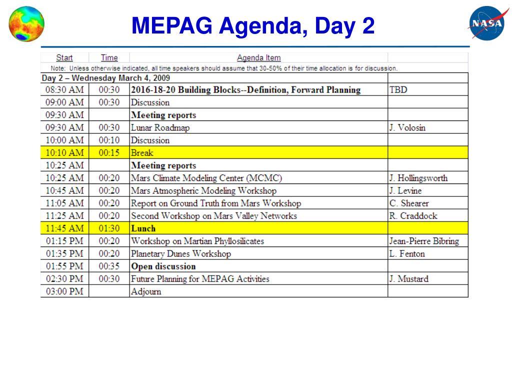 MEPAG Agenda, Day 2