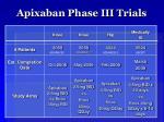 apixaban phase iii trials