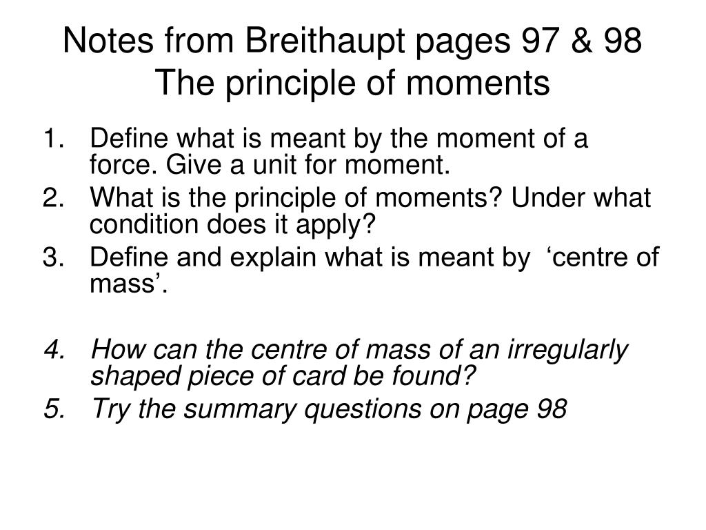 Notes from Breithaupt pages 97 & 98