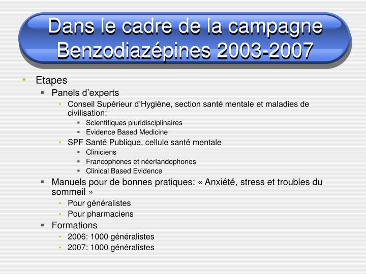Dans le cadre de la campagne benzodiaz pines 2003 2007