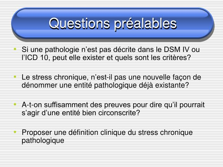 Questions pr alables