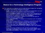 basics for a technology intelligence program