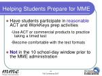 helping students prepare for mme43