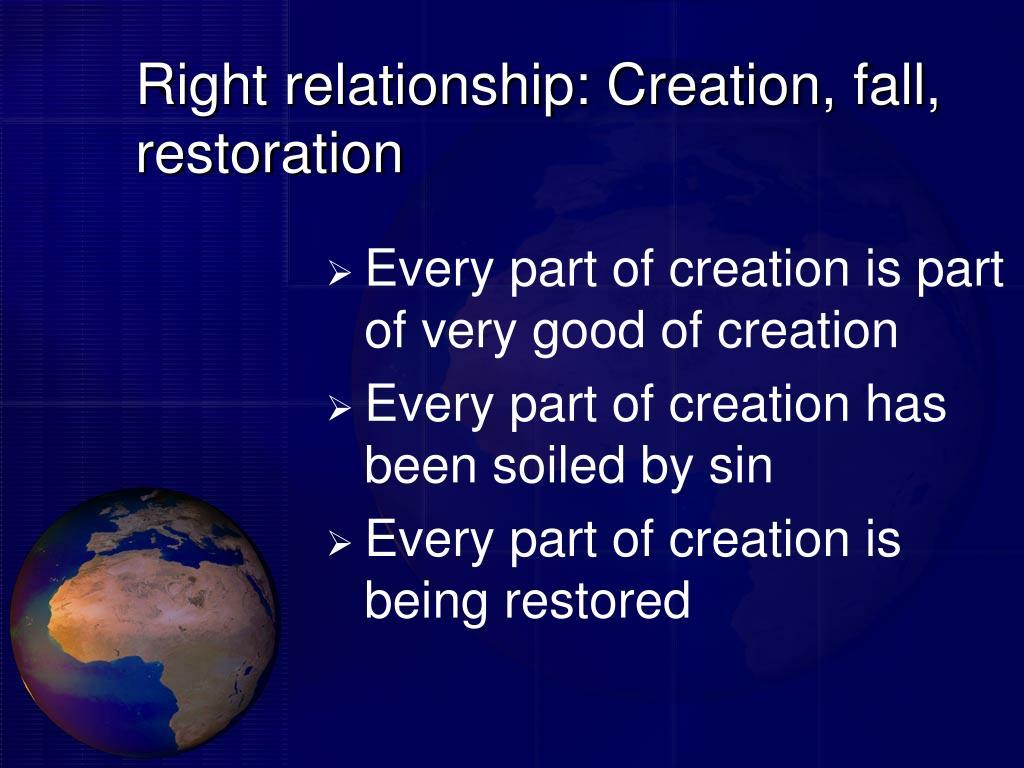 Right relationship: Creation, fall, restoration