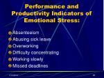 performance and productivity indicators of emotional stress