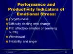 performance and productivity indicators of emotional stress29