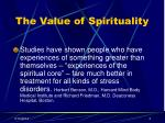 the value of spirituality