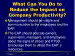 what can you do to reduce the impact on company productivity37