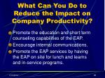what can you do to reduce the impact on company productivity38