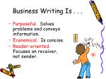 business writing is