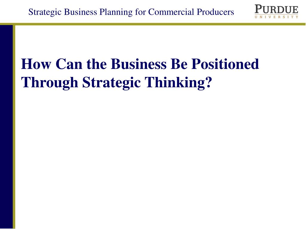 how can the business be positioned through strategic thinking l.