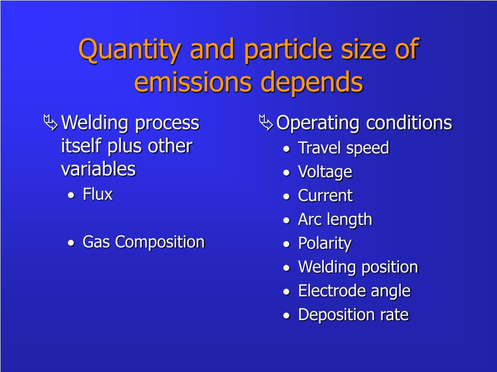 Welding process itself plus other variables