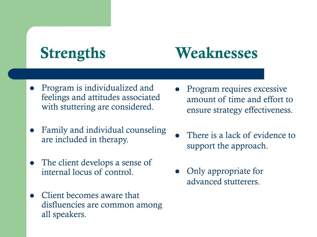 Program is individualized and feelings and attitudes associated with stuttering are considered.
