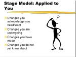 stage model applied to you