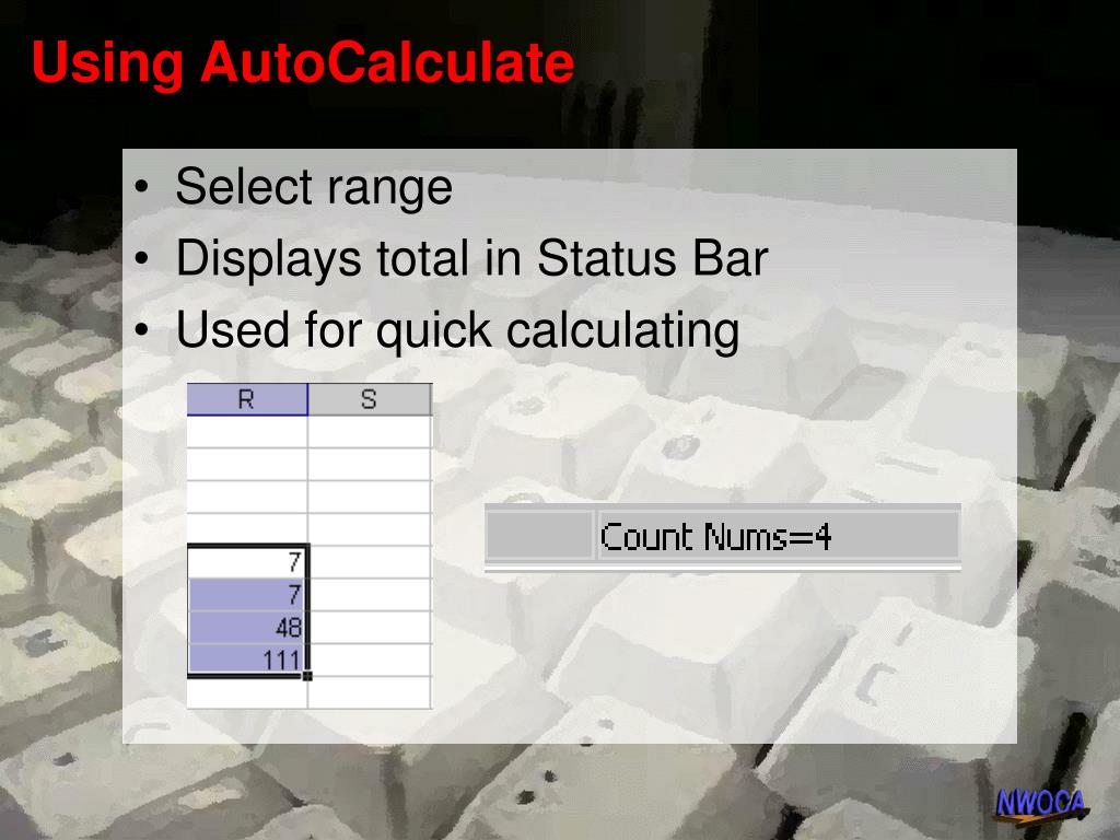 Using AutoCalculate