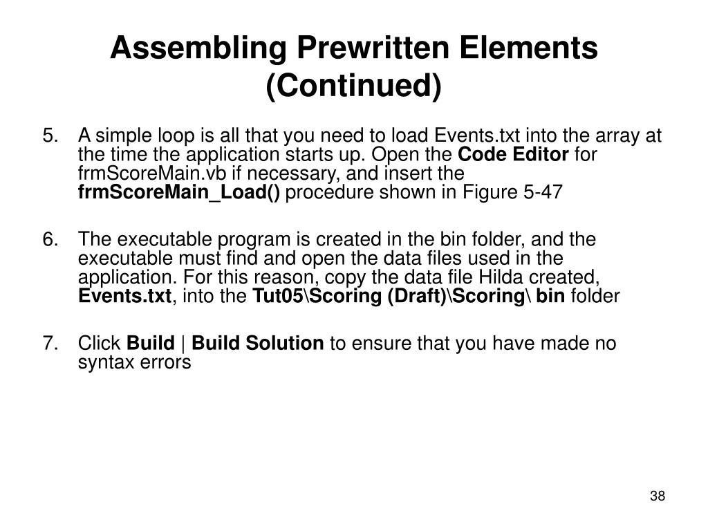 Assembling Prewritten Elements (Continued)