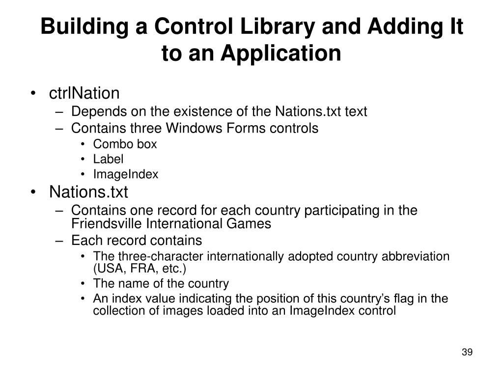 Building a Control Library and Adding It to an Application