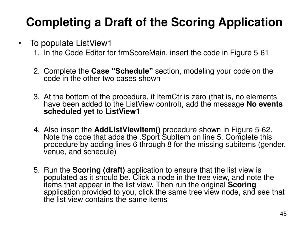 Completing a Draft of the Scoring Application