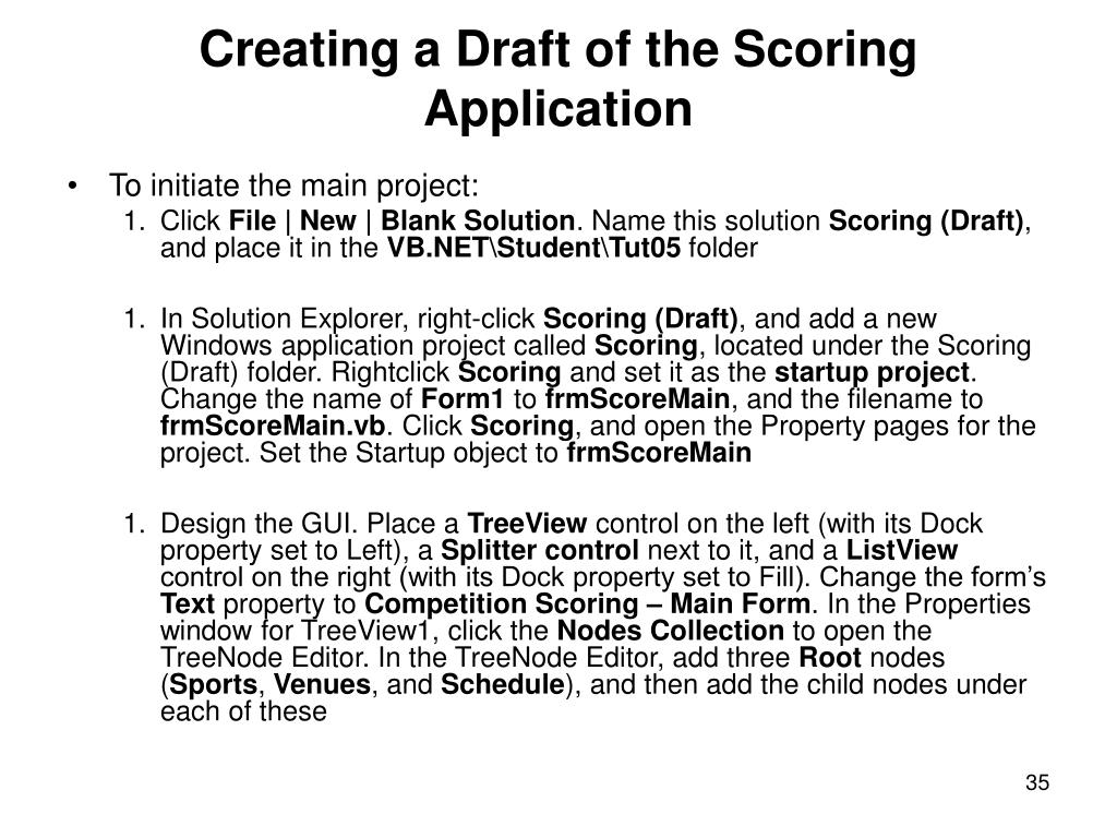 Creating a Draft of the Scoring Application