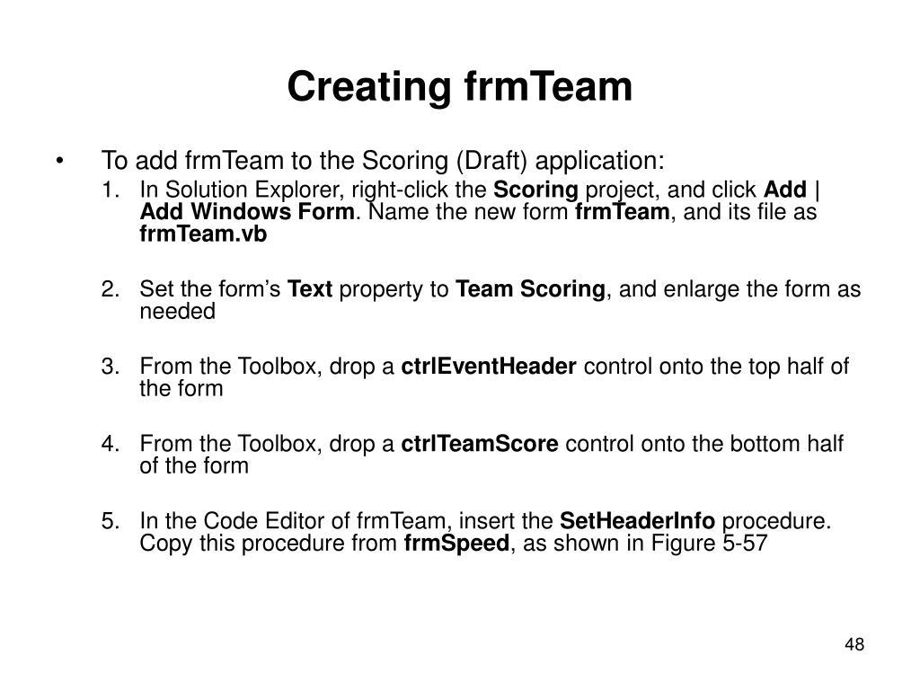 Creating frmTeam
