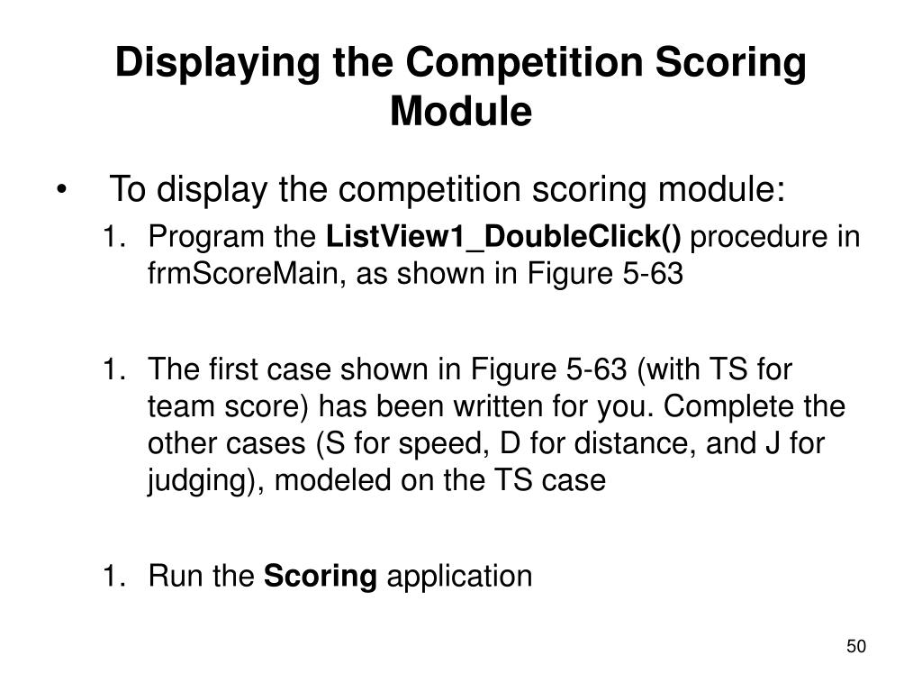 Displaying the Competition Scoring Module