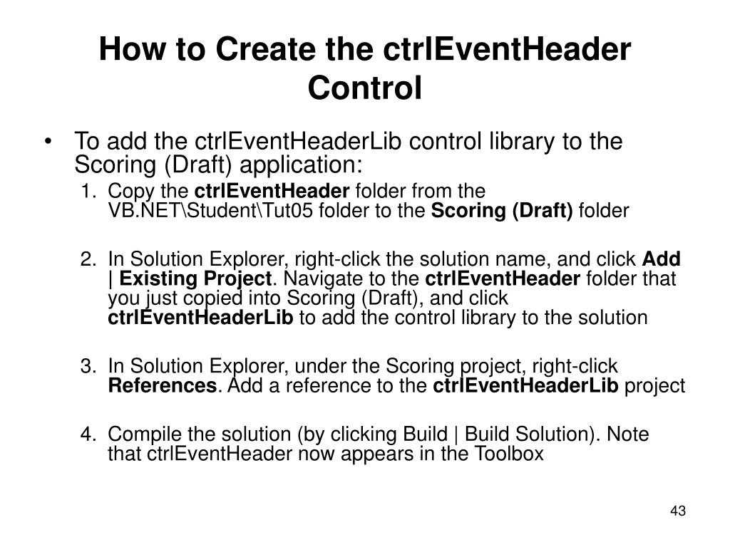 How to Create the ctrlEventHeader Control