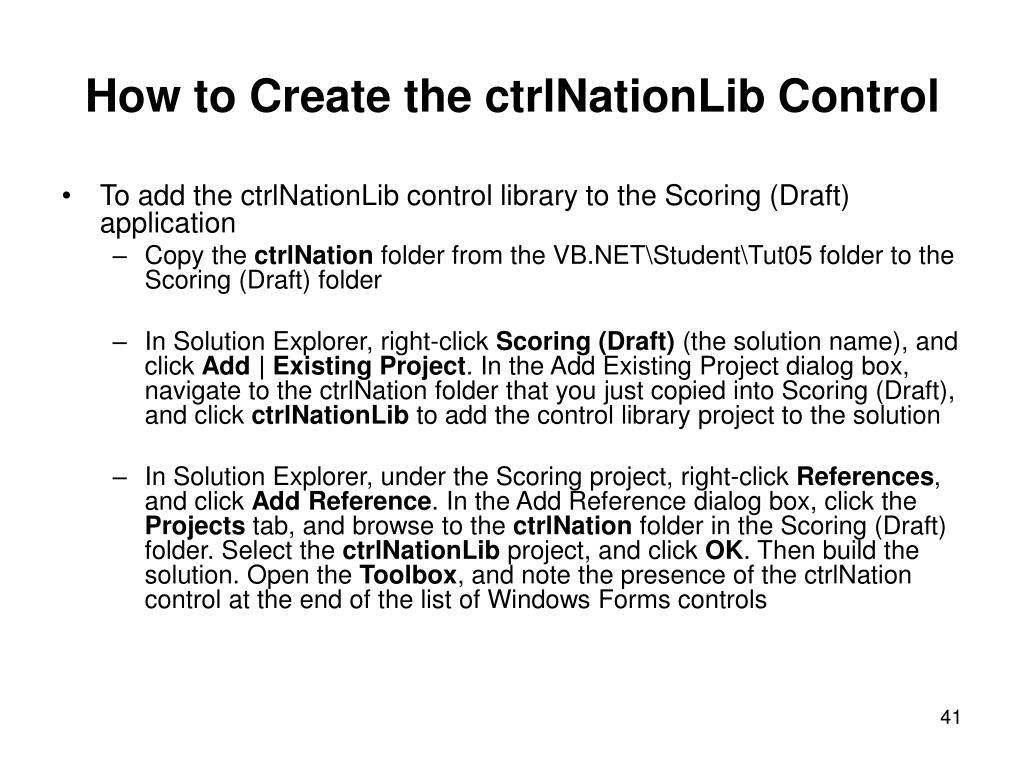 How to Create the ctrlNationLib Control