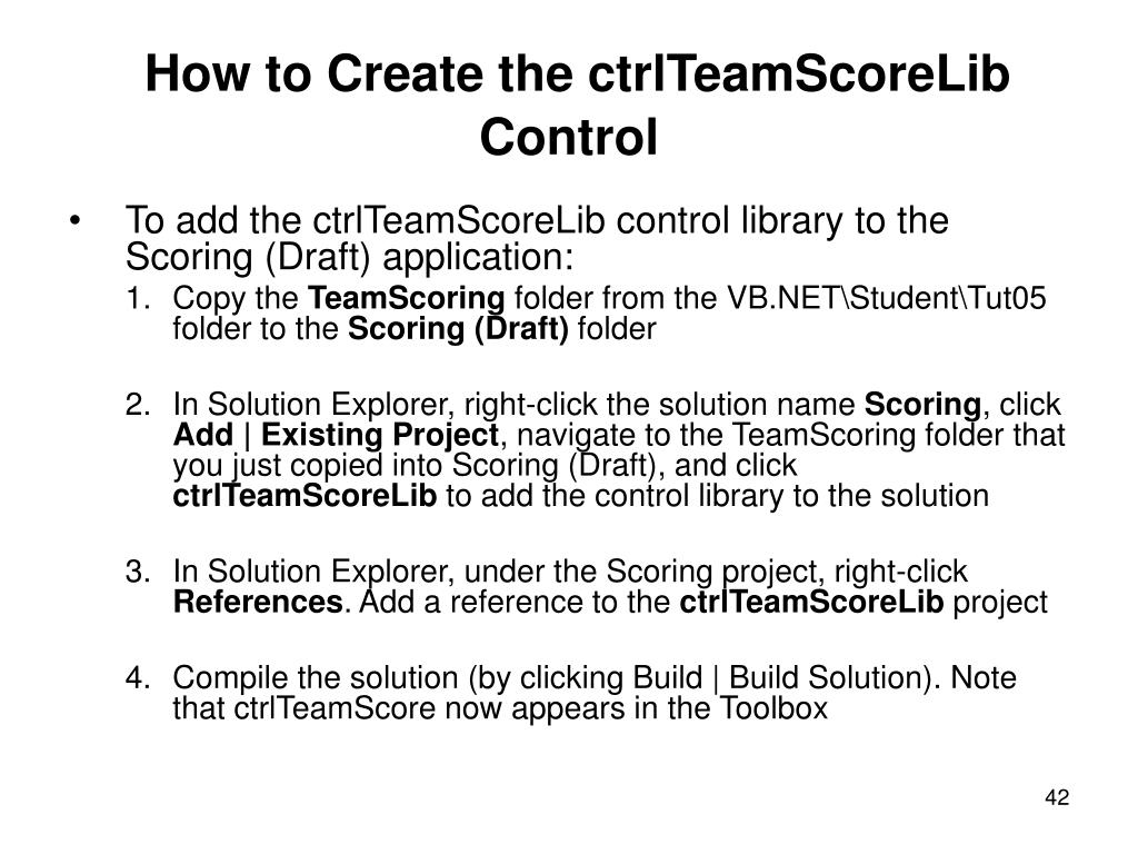 How to Create the ctrlTeamScoreLib Control