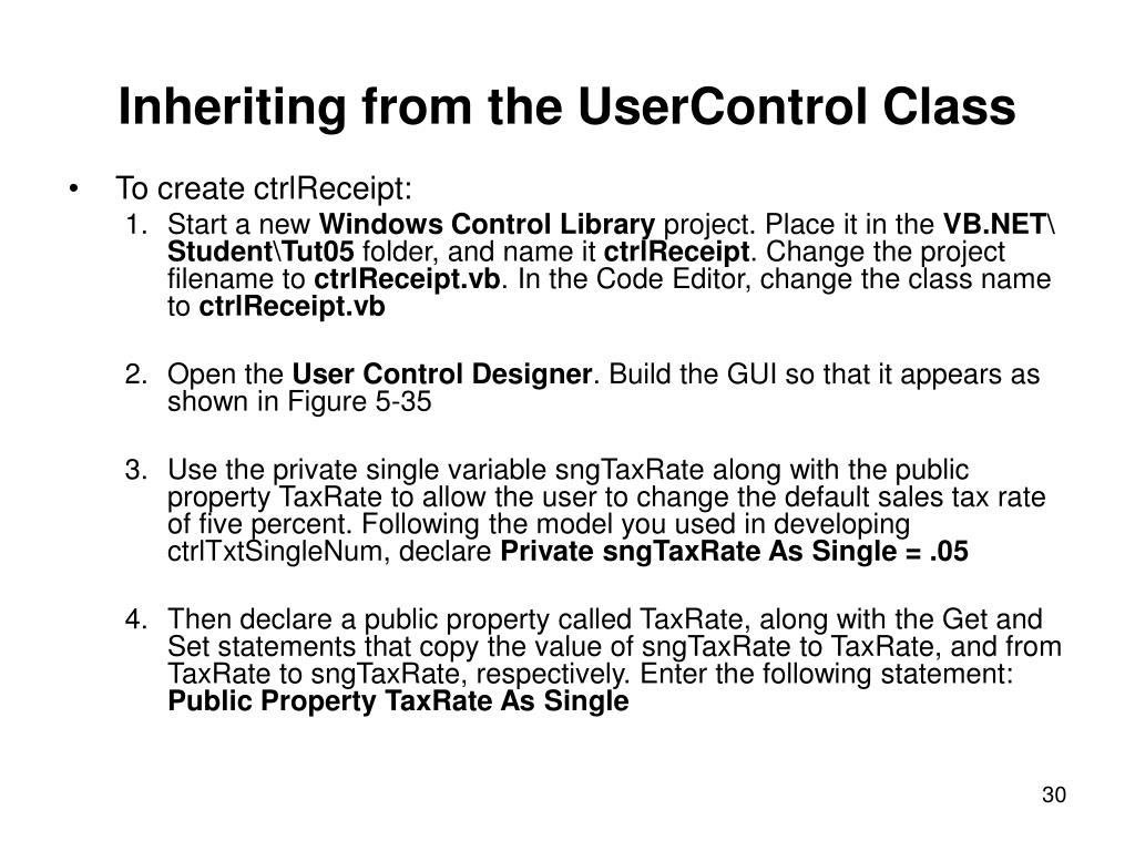 Inheriting from the UserControl Class
