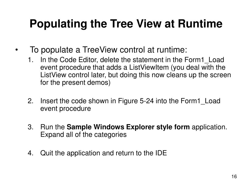 Populating the Tree View at Runtime