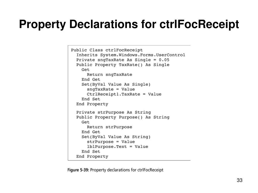 Property Declarations for ctrlFocReceipt