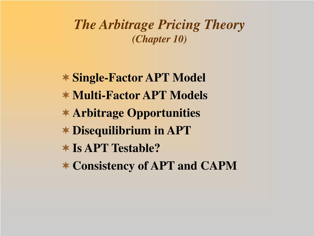 the arbitrage pricing theory chapter 10 l.