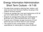 energy information administration short term outlook 9 7 05