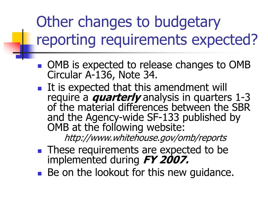 Other changes to budgetary reporting requirements expected?