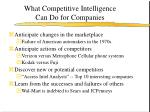 what competitive intelligence can do for companies