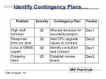 identify contingency plans10