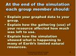 at the end of the simulation each group member should