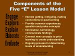 components of the five e lesson model