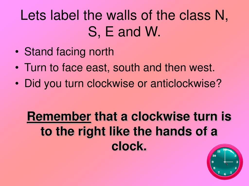 Lets label the walls of the class N, S, E and W.