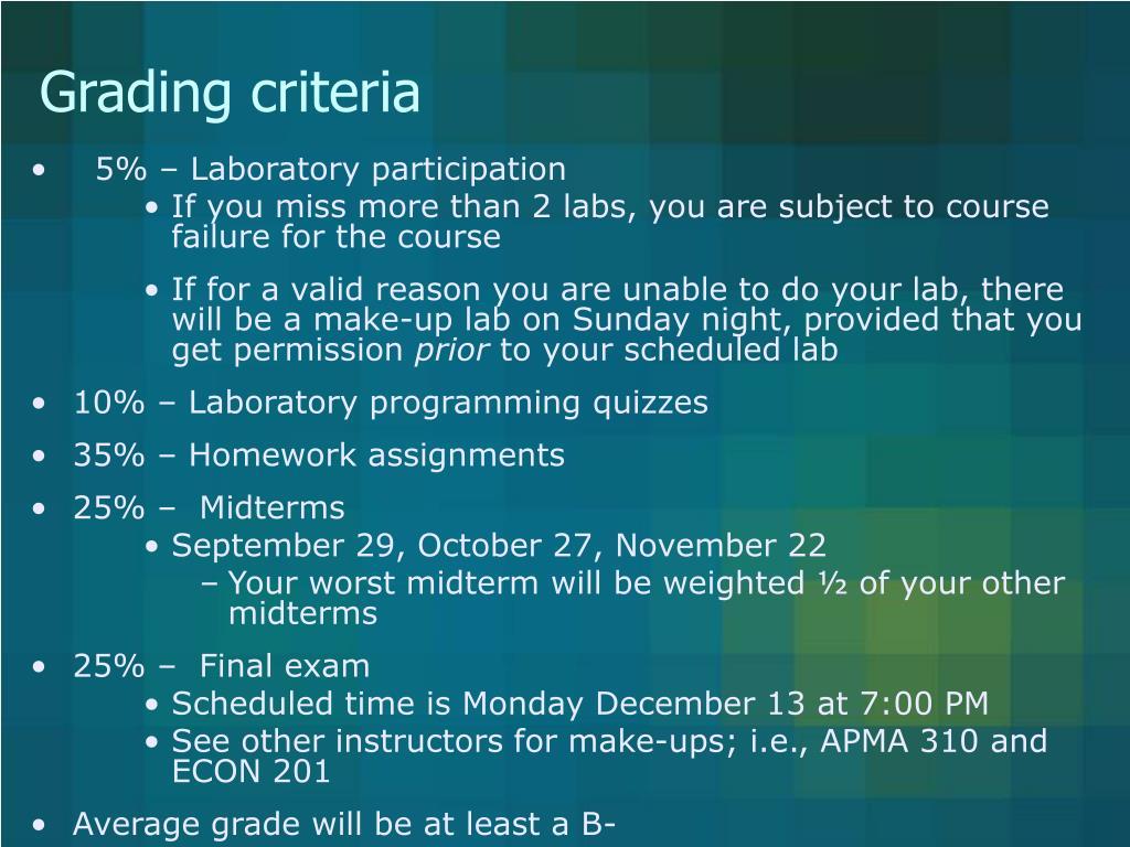 Grading criteria