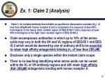 ex 1 claim 2 analysis
