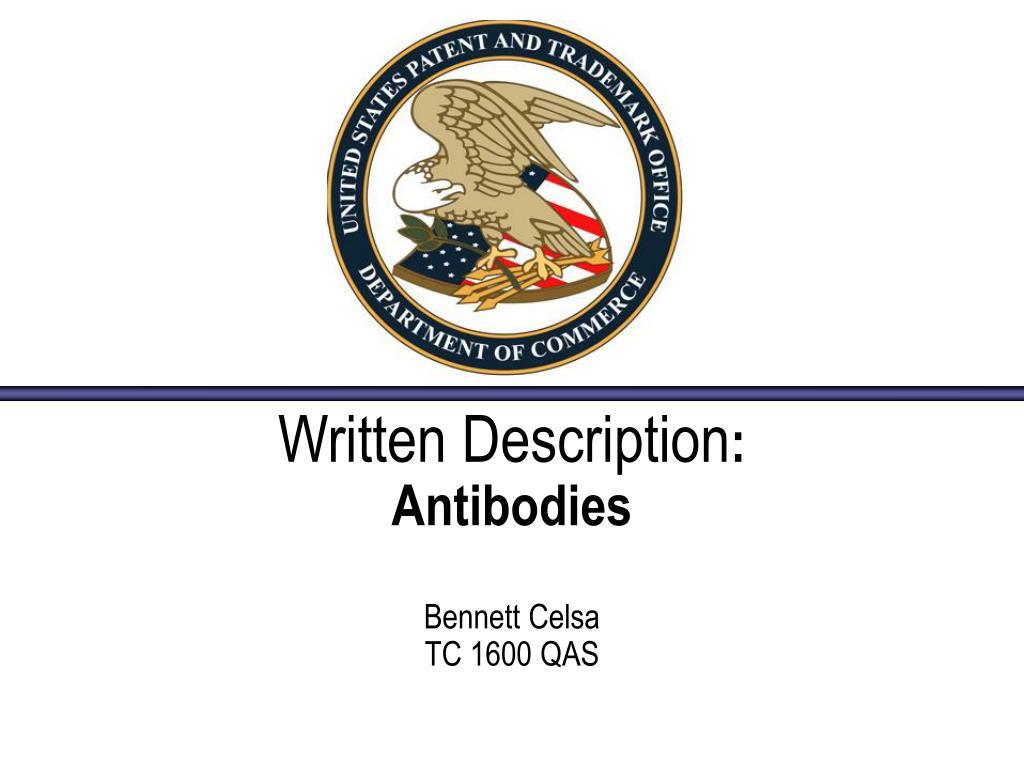 written description antibodies bennett celsa tc 1600 qas l.